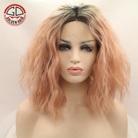 Short Colorful Synthetic Hair Best Price In Two Tone Ombre Weavly U Part Wig