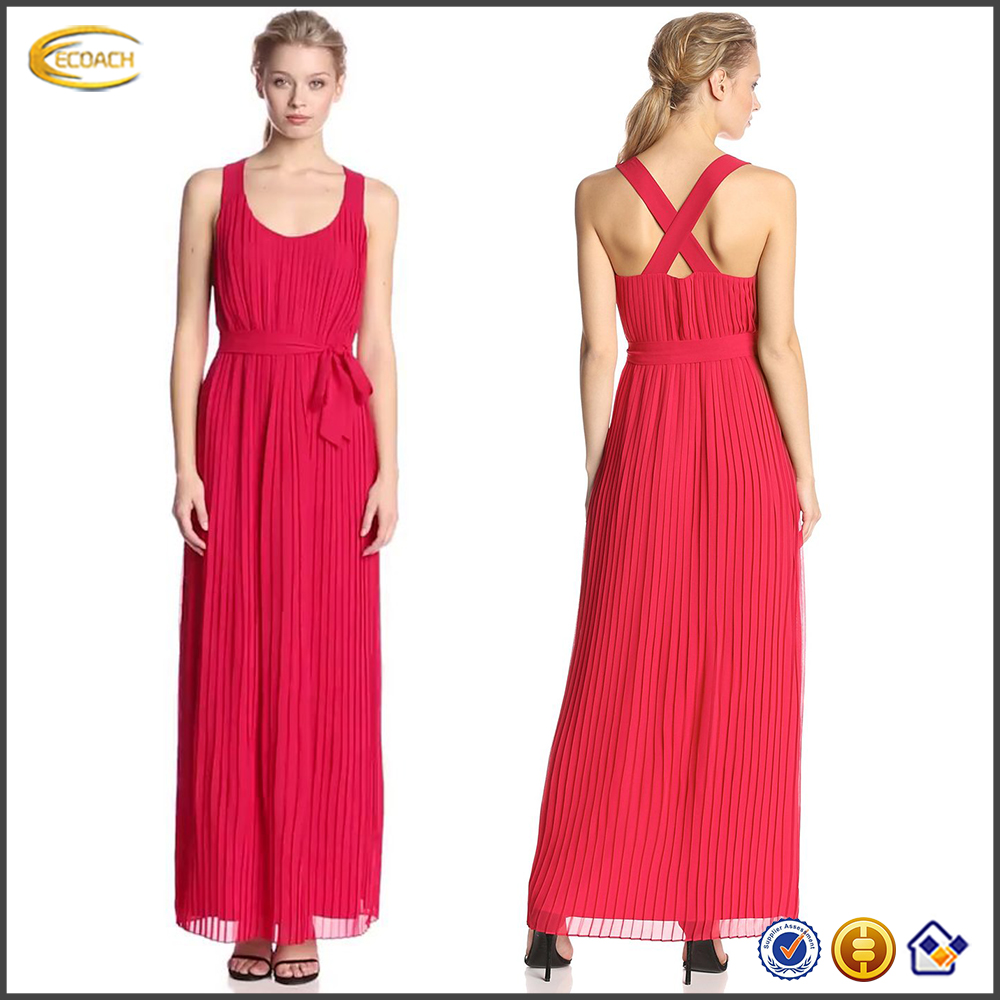 2016 Ecoach Wholesale ladies summer wear designs red sleeveless full length long dress High quality backless dresses for party