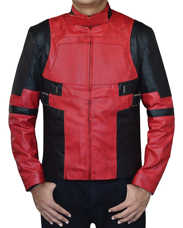 6c8884f303d85 Get Quotations · Red Ryan Black Biker Reynolds Deadpool Leather Jacket