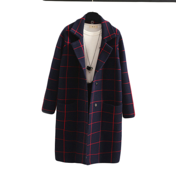 Fashion design royal blue plaid sweater mujer coats thick cashmere winter knitting coat women