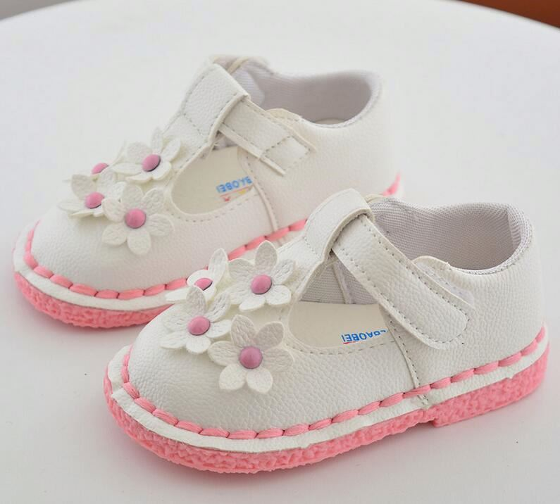 High quality fashion Pu upper baby girls dress flower shoes
