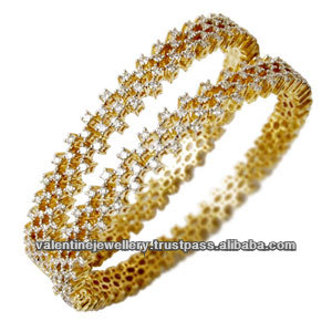 Newest Design Yellow Gold Diamond Bangle Round Expensive Jewelry From India Jewellery