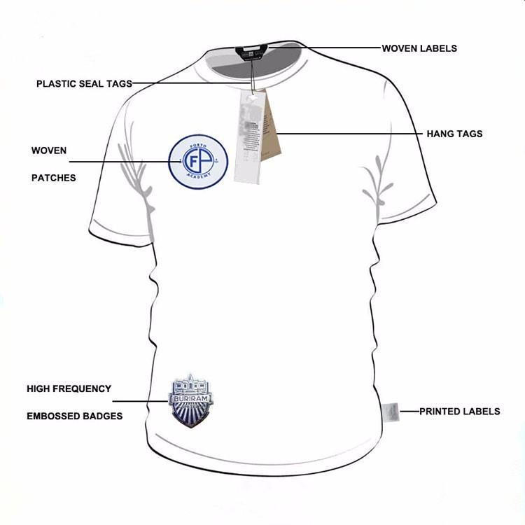Em linha reta corte personalizado logotipo da marca impressa etiquetas tecidas para roupas de algodão macio