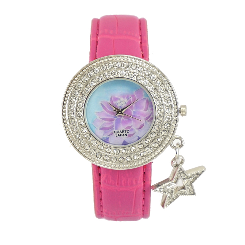 2017 Hot selling ladies vintage style tree flower brid fun drawing image leather watch strap