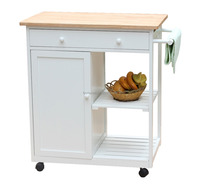 Hot Sale Wooden Serving Kitchen Cart with Cupboard