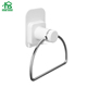 New design white plastic with stainless steel DIY suction towel ring