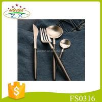 4pcs black handle stainless steel cutlery set