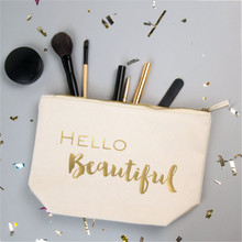 2017glitter gold letter beauty customize pouch cosmetic small white/ black makeup bag