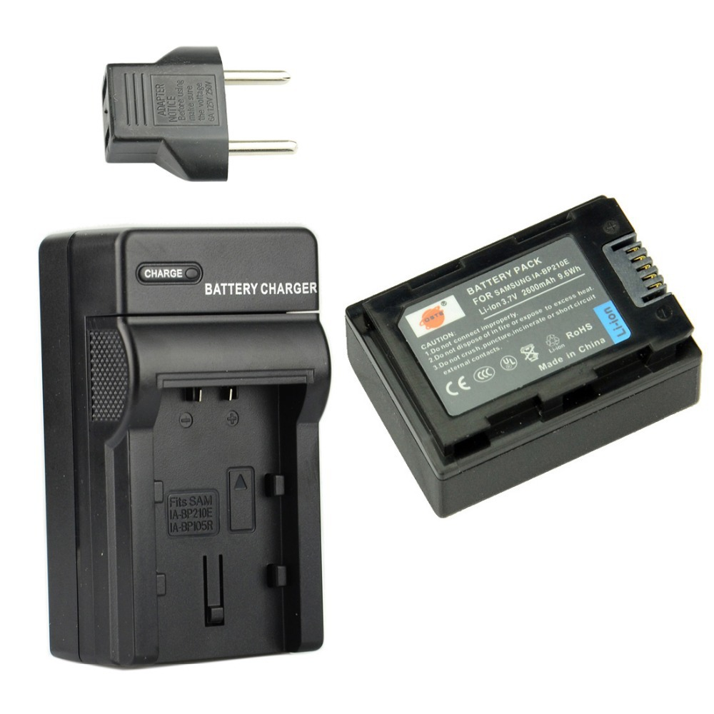 DSTE 2600 mAh IA-BP210E Rechargeable Li-ion Battery + Charger For Samsung SMX-F50 SMX-F70 HMX-H205 HMX-H300 HMX-S15 HMX-S16