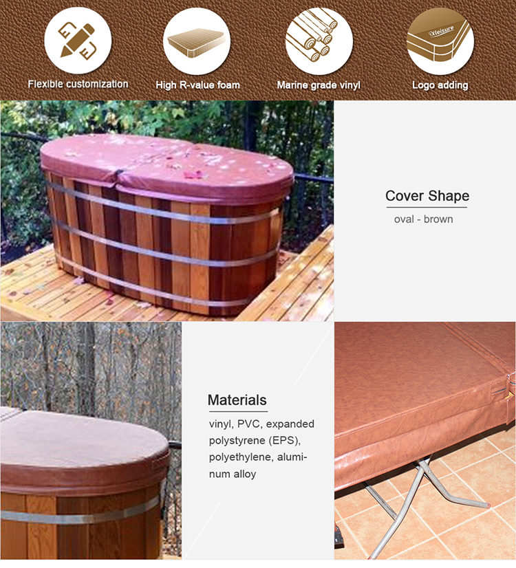 2 Person Wooden Hot Tub Cover Indoor Insulation Hot Tub Spa Cover Oval Shape
