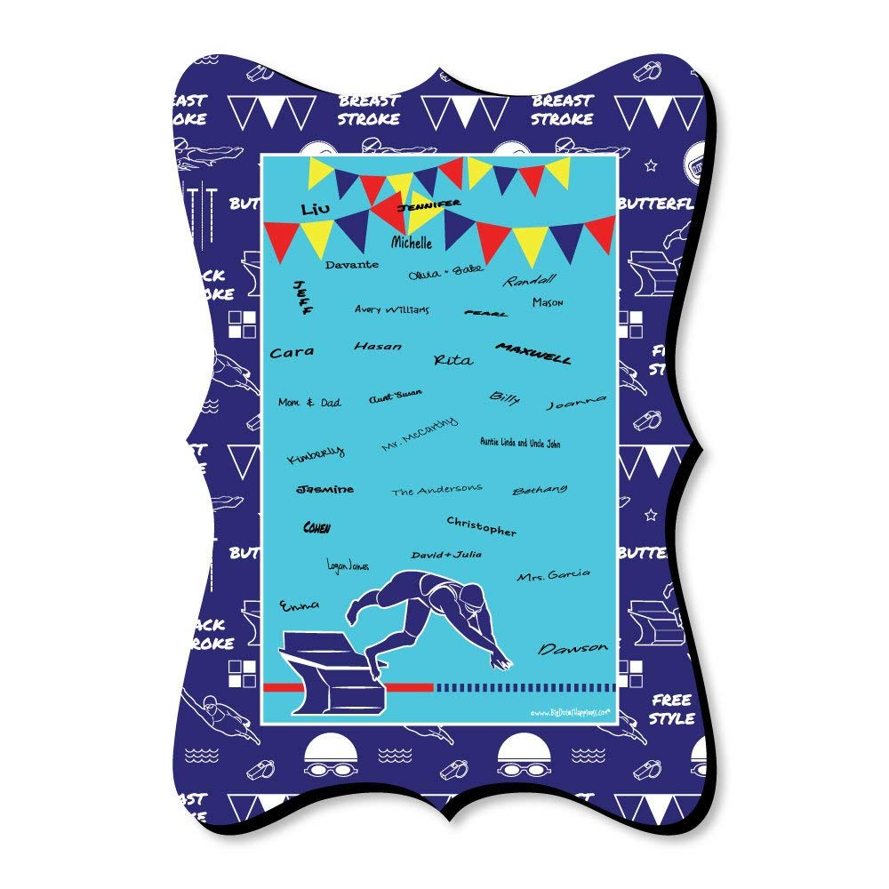 Big Dot of Happiness Making Waves - Swim Team - Unique Alternative Guest Book - Swimming Party or Birthday Party Signature Mat