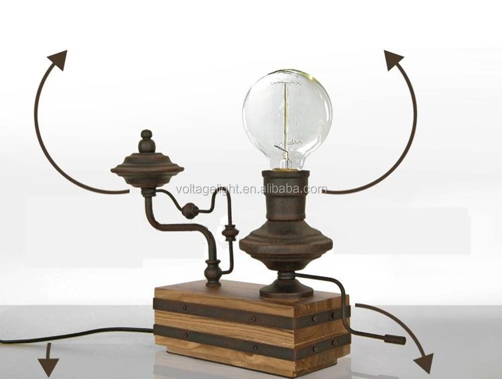 Vintage Retro Metal Decoration Desk Lamp Edison Light Bulb Wooden ...