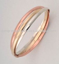 White, Yellow & Red Gold Plated Entangled Bangle [dtbg# 46]