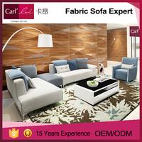 Colour combination simple solid wooden frame sofa set design