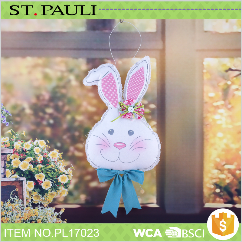 big face canvas bunny indoor hanging decoration easter gift with high quality