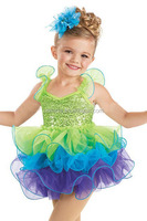 MBQ381 Child light green sequin tutu ruffles puffles tutu leotard ballet dance dress costumes