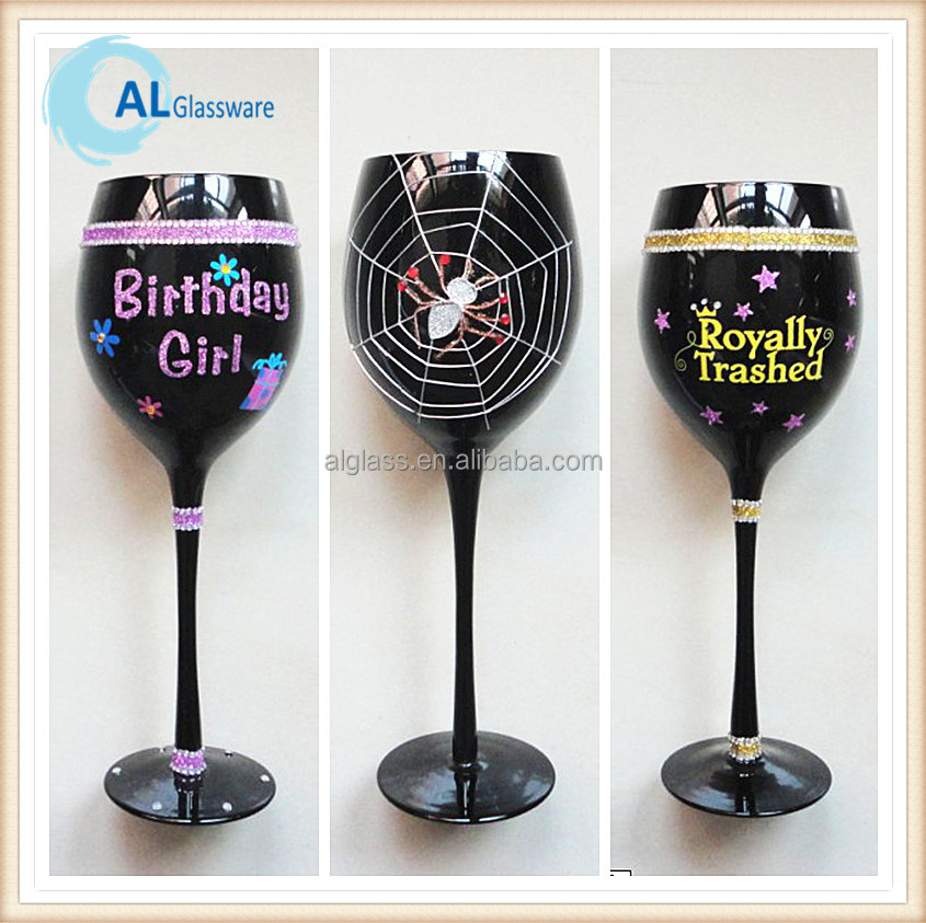 black painted wine glass hand work glass painting