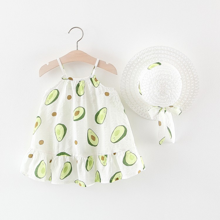 Fashion avocado printing two piece set for baby girls kids clothing