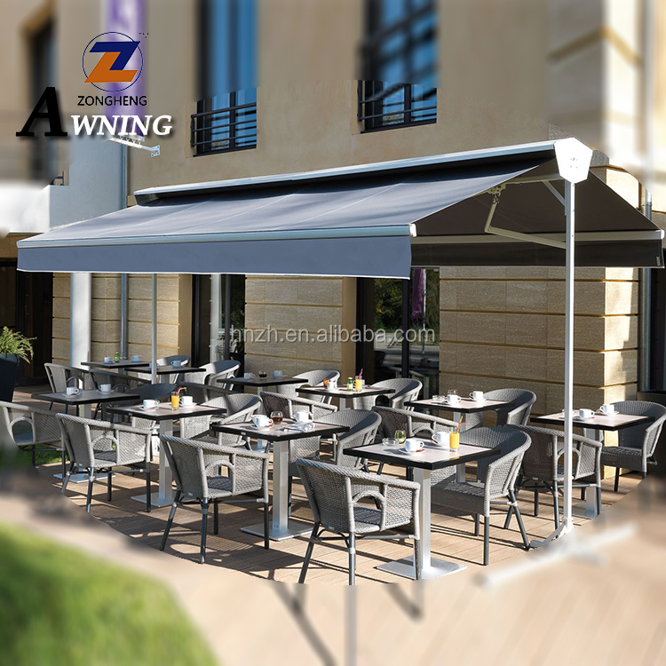 Manual free standing retractable awning/outdoor double side awning for sunshade