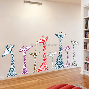 removable wall color giraffe children's cartoon wall stickers