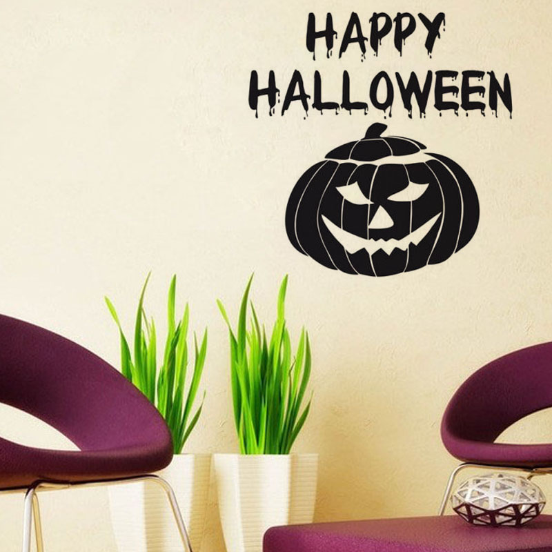 Happy Halloween Pumpkin Mask Wall Stickers Vinyl Removable DIY Western Home Decor Creative For Living Room