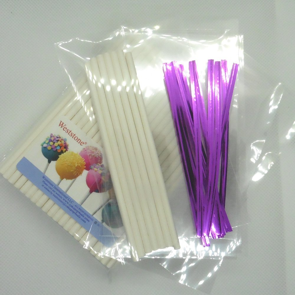 """Weststone 100pcs 6"""" Lollipop Sticks + 100 Poly Bags + 100 Hot Pink Twist Ties for Cake Pops"""