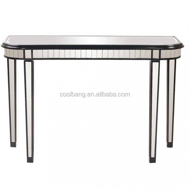 Latest high quality glass thin console table with mental