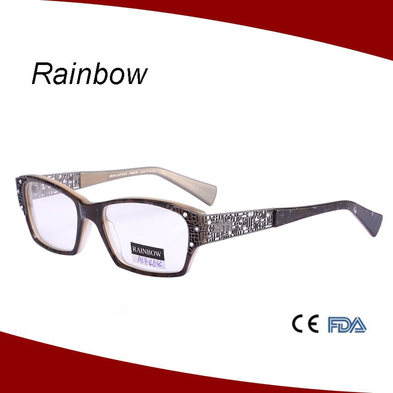 Acetate optical frame with metal part on temple eyeglasses