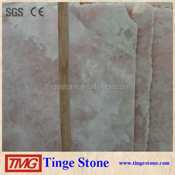 Polished Natural Stone Pink Onyx Tiles For Hotel Decaration