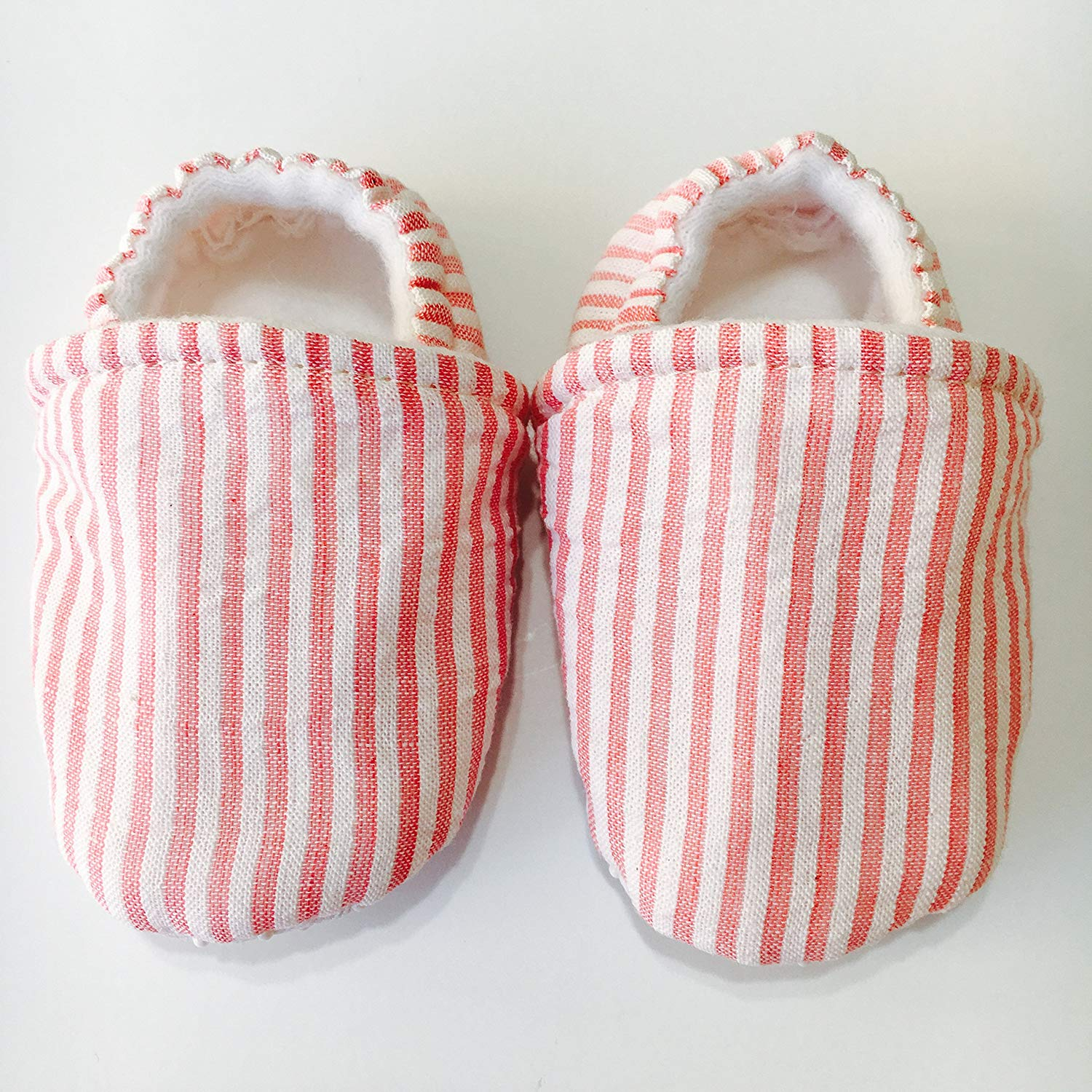 SOUTHERN BELLE pink seersucker baby shoes, classic southern baby girl clothing, pink baby shoes, traditional newborn infant or toddler shoes