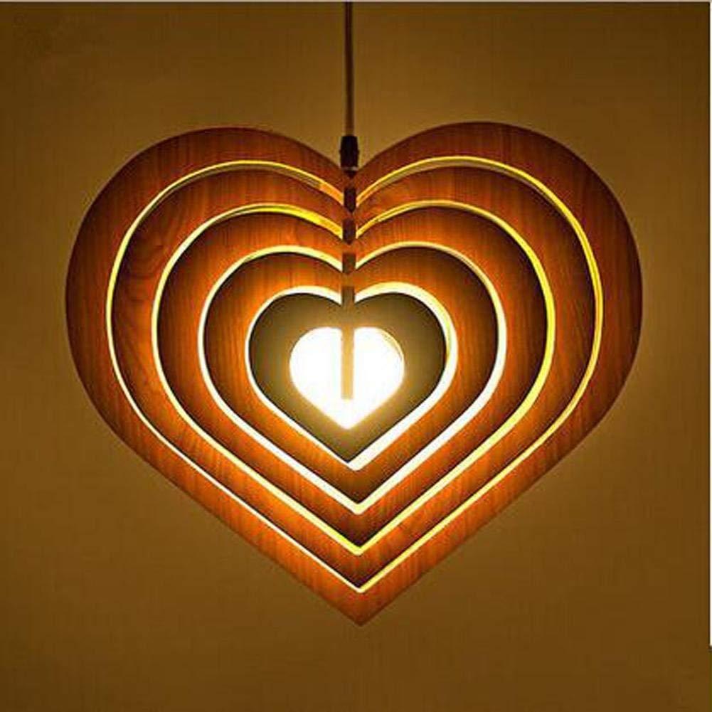 Wei-d Single-Head Wood Chandelier Chandelier Creative Restaurant Minimalist Modern Wooden Heart-Shaped Living Room Pendant Light , light