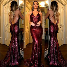 Backless Lange Vrouw Westerse Stijl Suzhou Party Mermaid 2018 Gold Sexy Sequin <span class=keywords><strong>Prom</strong></span> Avondjurk