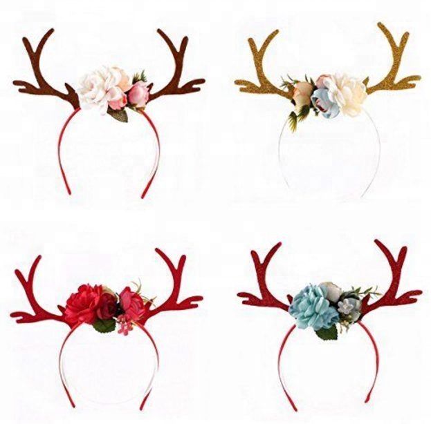 Funny Deer Antler Headband W Flowers Blossom Novelty Party Hair Band Head  Christ d14fbd9f4c2