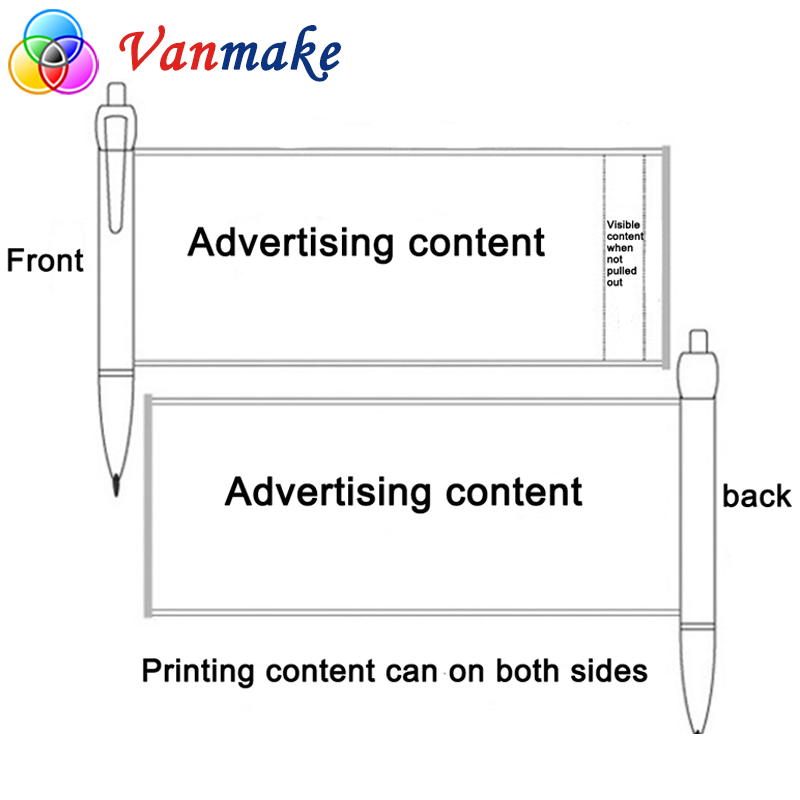 Cheap Promotional Plastic Advertising Slogan Pull Out Banner Pen