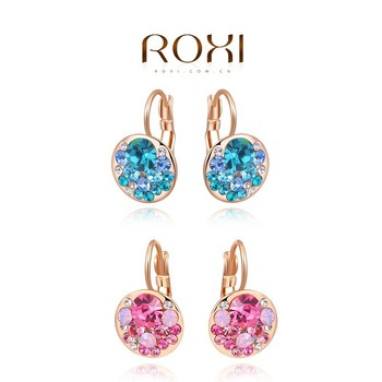 Roxi Rose Gold Handmade Jewelry Pink Blue Crystal Drop Earrings For