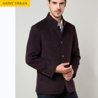 Lapel neck non-ironing men's casual wool coat