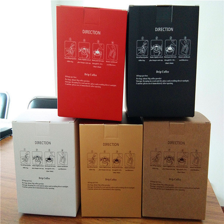Drip coffee filter bag packaging inner bag and packaging outer box coffee filter bag and packaging