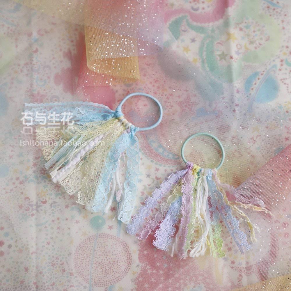usongs Custom stone and flower handmade lace wool fringed hair circle rainbow gradient Macaron mint lemon Summer