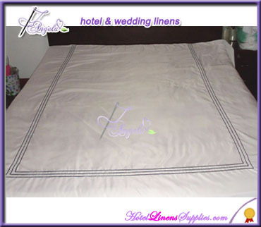 T/C blend white bedding and linens stripe institutional linens for luxury hotels, clubs