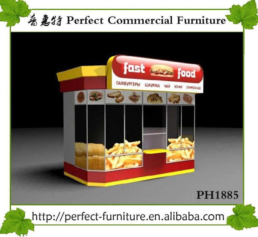 Burger Kiosk Restaurant Equipment Fast Food Stall Shop Counter Design Ideas For Sale