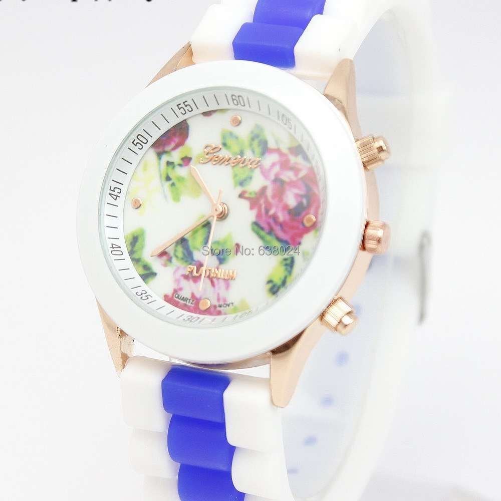300pc/lot 15Color Geneva RoseFlower Multi Silicone Watch For Women Dress Watches Fashion Women Ruber Wrist Watches Free Shipping