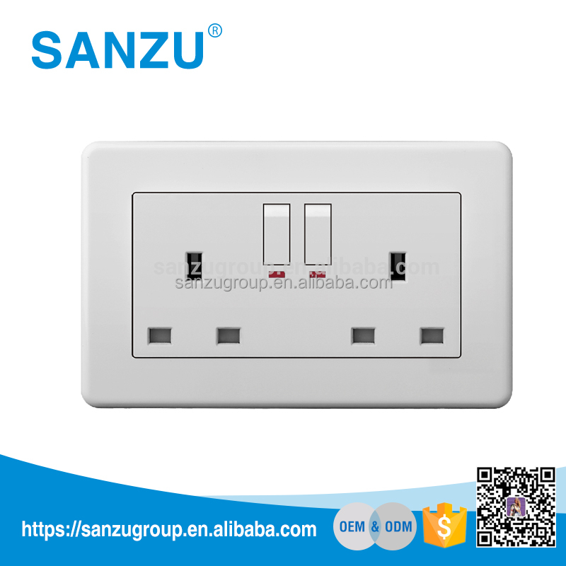 Quality Assurance UK Style Double 13A Switched Socket with neon, Wall Socket Switch