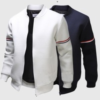 Men's Satin Baseball Pure Color Long Sleeve Winter Tank Jacket