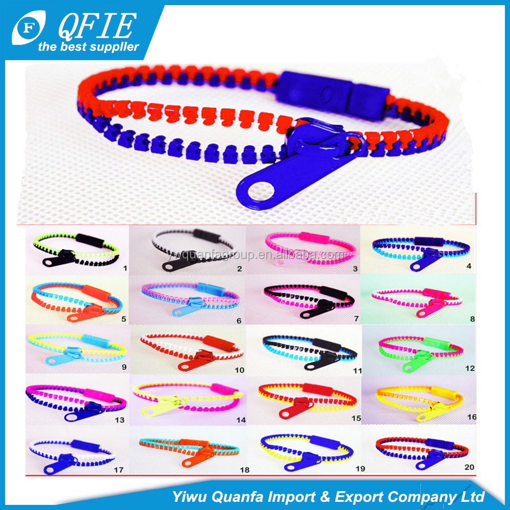 Fashion cheap 20cm plastic zipper bracelets for kids