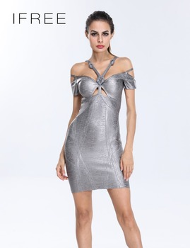 2016 New Arrival Ladies Short Sleeve Silver Foil Printed Bandage Dress Long
