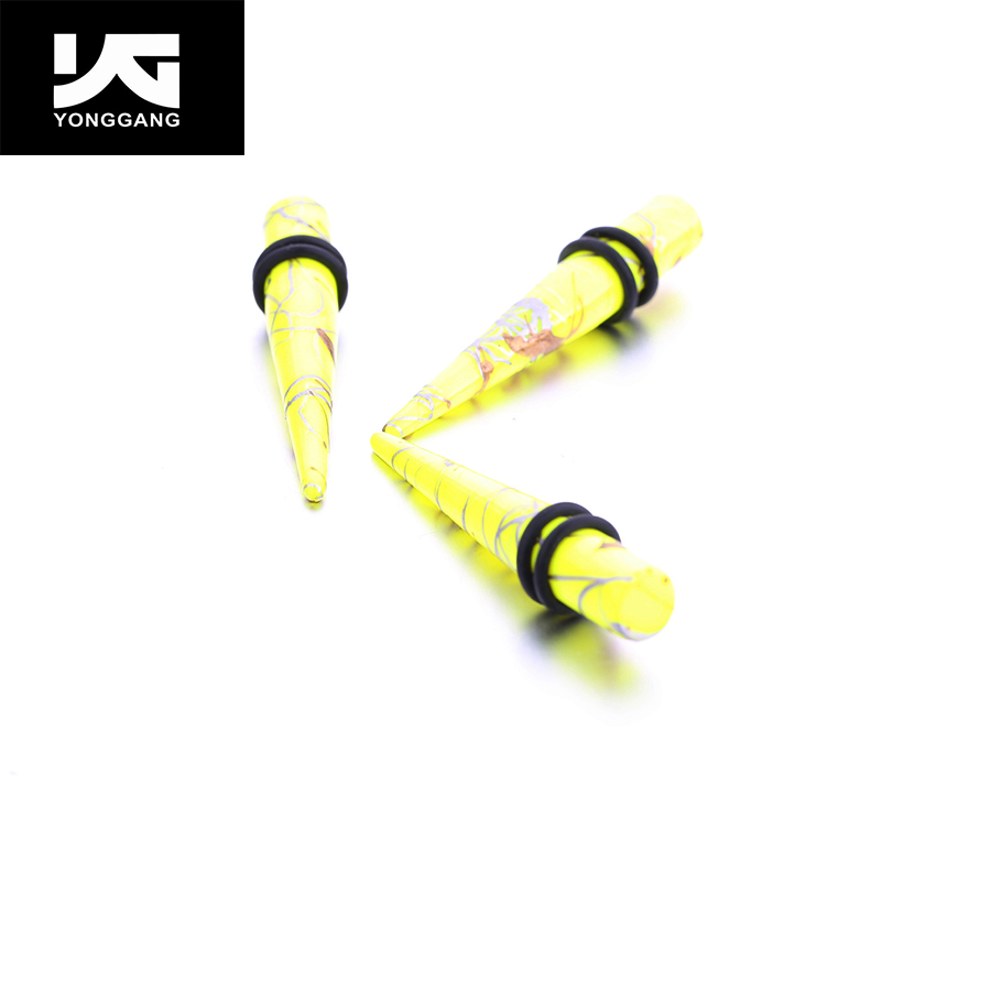 New Coming!!Yellow Acrylic Ear Plug Taper Big Gauge,Kit Taper Stretching Expanders Kit For Sale