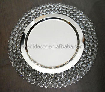 Cheap Crystal Beaded Charger Plates Wholesale For Hotel Amp Wedding Used Buy Crystal Beaded