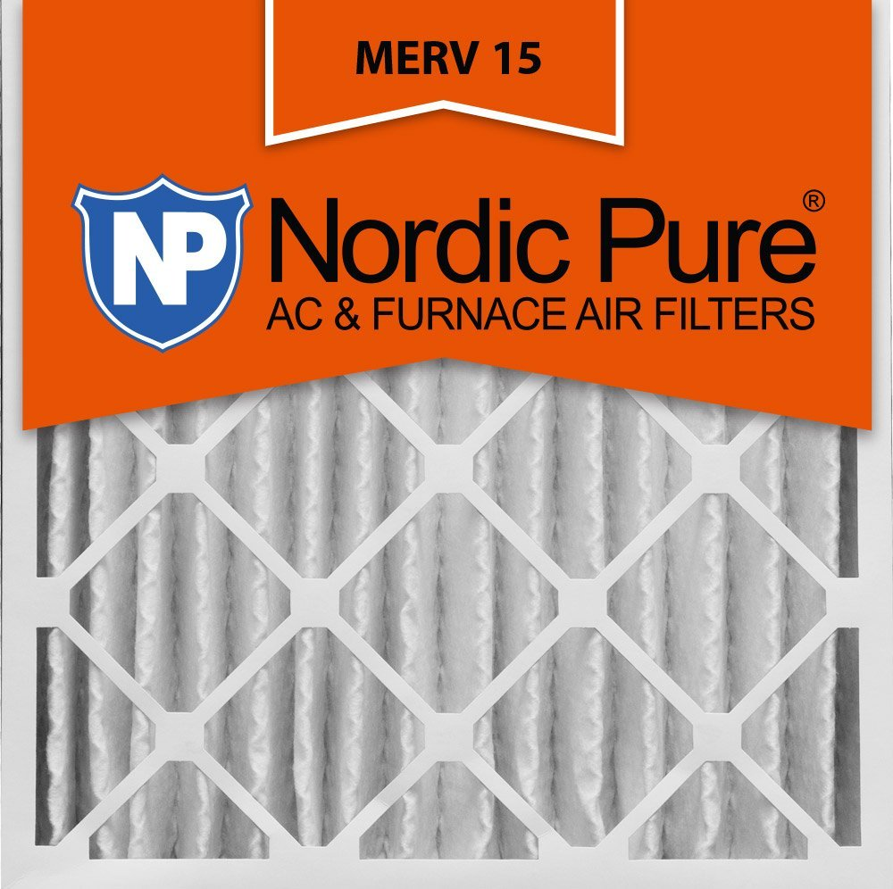 Nordic Pure 20x20x4 (3-5/8 Actual Depth) MERV 15 Pleated AC Furnace Air Filter, Box of 6