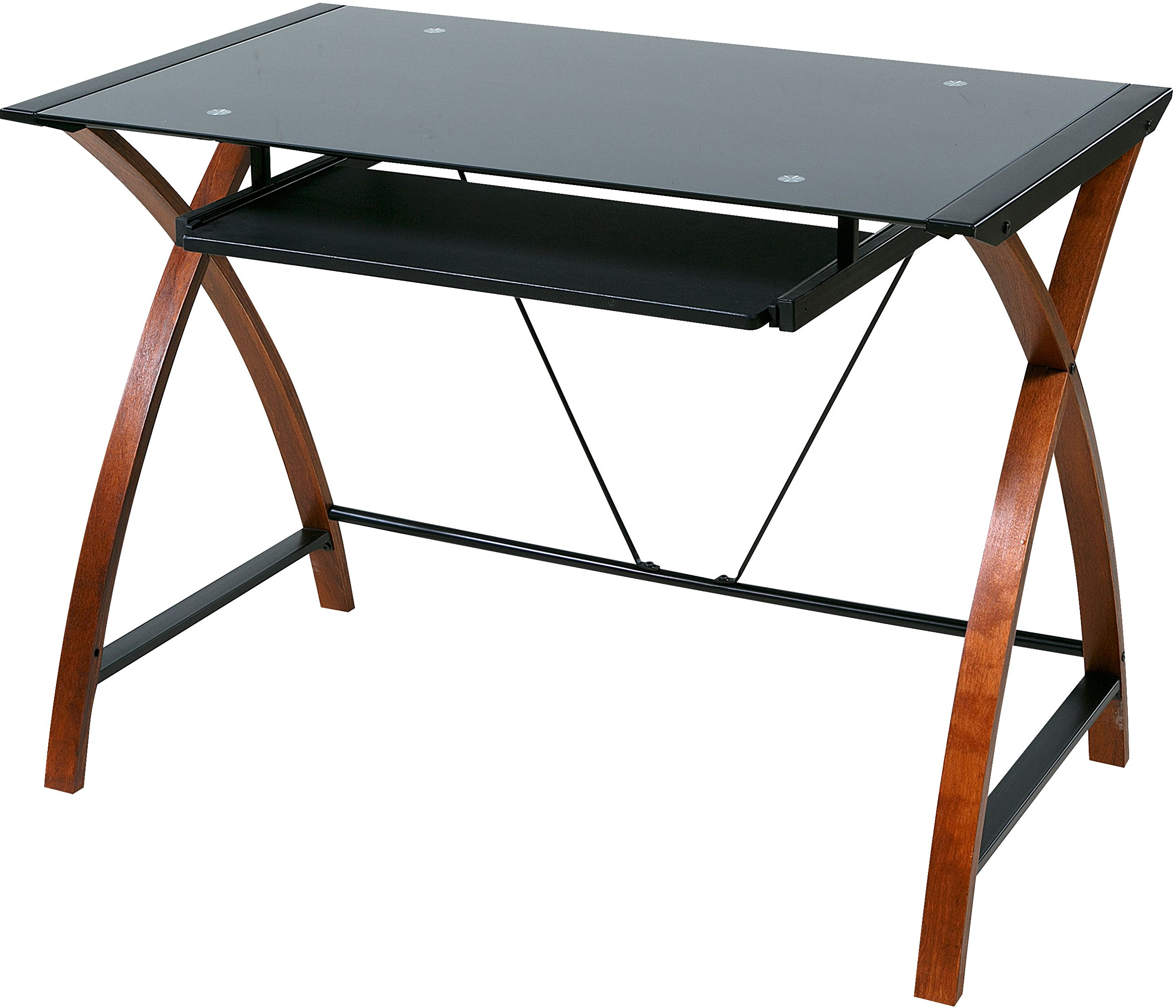 9d417e5f7a3 Get Quotations · OneSpace Glass and Wood Computer Desk with Pullout  Keyboard Tray