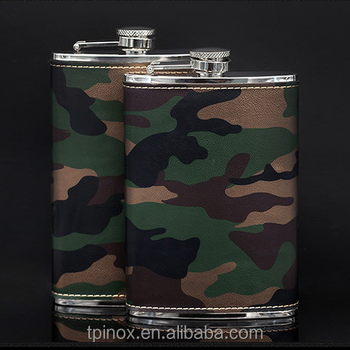 9OZ 10OZ Military camouflage large capacity stainless steel hip flask